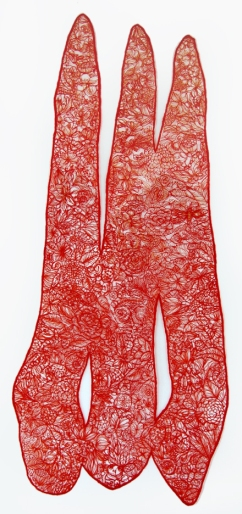 "Cotton thread │ 46.5""x23""x.75"" framed │ 2012"