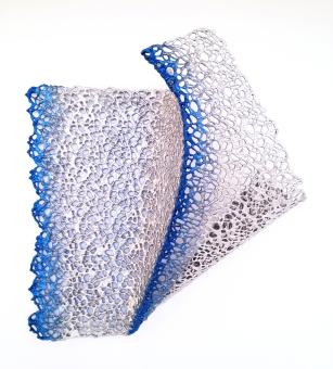 "Lace fabric, resin, acrylic │19 x 18 x 7.5""│ 2016"