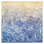 square lace panel of detailed flora and fauna