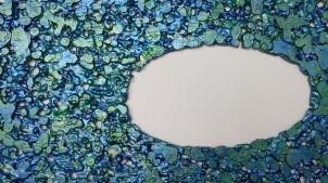 "Lace fabric, resin, acrylic │27 x 46 x 3"" │ 2015"
