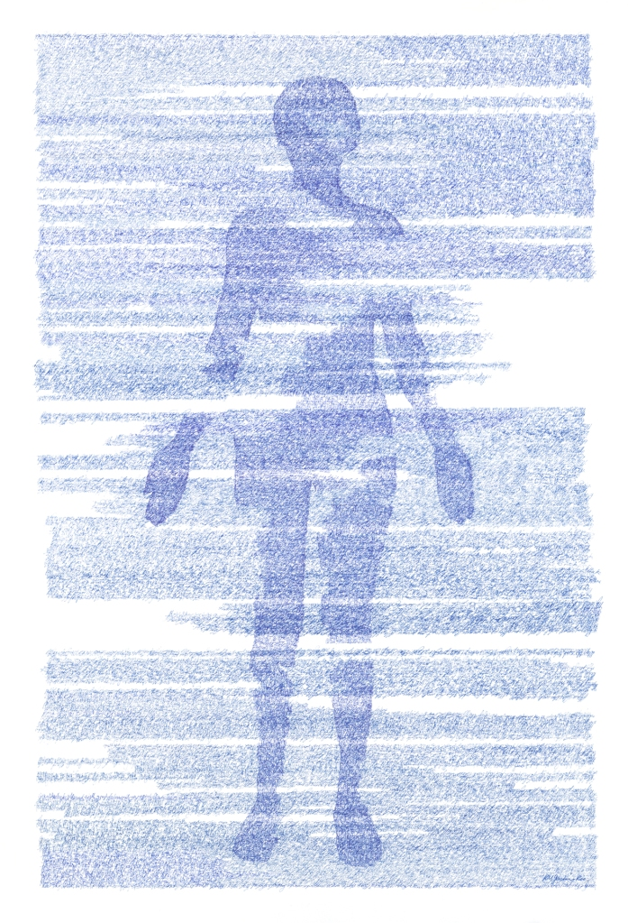 figurative portrait using layers of cursive writing. The human figure fades in and out with the writing.