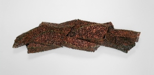 """Spiral Structure No. 3 │lace fabric, resin, metallic pigments │11 x 44 x 10.5"""" │ 2013"""