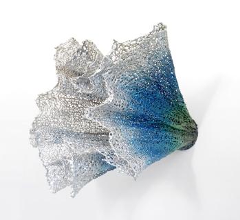 """Lace fabric, resin, metallic powders, acrylic │ 28"""" x 33"""" x 25"""" │ 2015"""