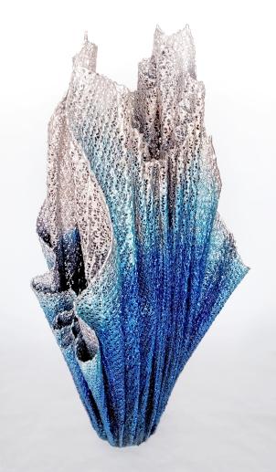 """Lace fabric, resin, metallic powders, acrylic │39 x 17 x 12"""" │ 2015"""