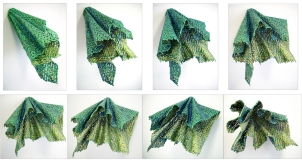 "Lace fabric, resin, acrylic │ 6.5 x 14 x 18"" │2014"