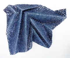 "lace fabric, resin, powder pigments, acrylic │ 27.5 x 31.5 x 6.25"" │ 2015"