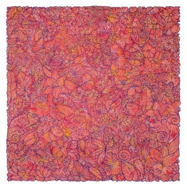 "Thread, hand-dyed Shetland / Angora / Mohair wool 26 x 26""│ 2018"