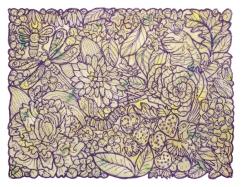 "Thread, hand-dyed Shetland & Angora wools│9 x 12""; 11 x 14"" with white shadowbox frame│2018"