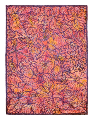 "Thread, hand-dyed Shetland / Angora /Mohair wool │ 12 x 9"", 11 x 14"" in white shadowbox frame│ 2018"