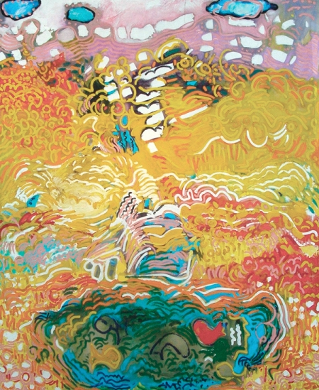 abstract painting with swirling, expressive lines hinting at a landscape with sky and a fish pond towards the bottom