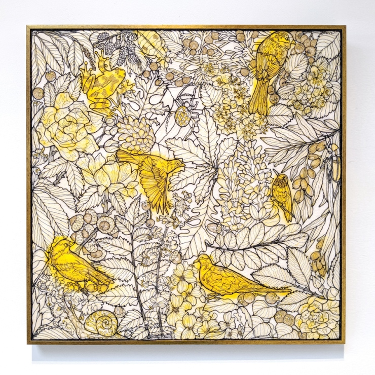 framed textile artwork featuring Missouri flora and fauna executed in thread and dyed wool